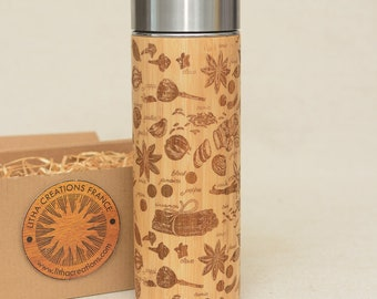Personalized Thermos Wooden Engraved  Spices Cinnamon Original Bamboo Wood Vacuum Flask Stainless Steel  with Screw Lid