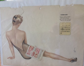 Vargas' Pin Up Vintage Calendar Page