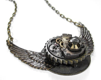Steampunk Jewelry, FLIGHT To The Past Industrial Grunge Watch Necklace, Topaz, Brass Wings Large GEARS Boyfriend Burning Man - by edmdesigns
