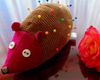 handcrafted hedgehog pincushion, animal pincushion, handmade cute pincushion