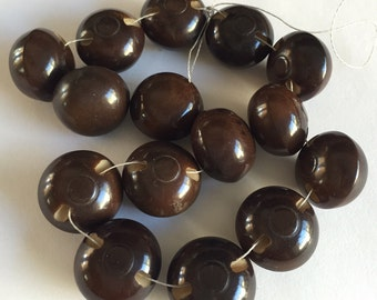 15  Vintage Vegetable Ivory Buttons - Chocolate Brown