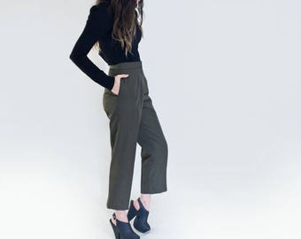 Cropped High Waist Pants | Women's High water Bottoms | Vintage Military Polyester Pant | Tall Length | L415 & Co Clothing (#415-43V)