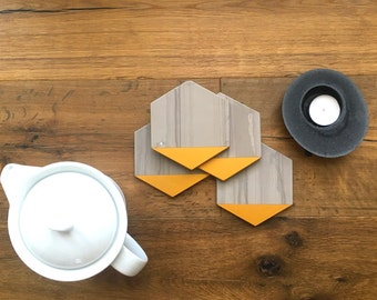 Hexagon Marble Coasters. Set of 4. Athens Grey Gold Painted Honed Marble. Natural Stone Coasters. Geometric Coasters