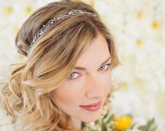 Gwen: Bridal Headband   Silver Bridal Headpiece   Wedding Hairband   Leaf Bridal Headband   Bridal Hairwrap   Silver