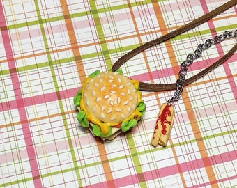 Burger necklace Hamburger Fast food Cheeseburger Baker gift French fries Food jewelry Burger accessory Burger party Fake food Miniature food
