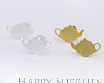 Nickel Free - High Quality Teapot Dual-used Golden / Silver / Rose Gold Brass Earring Post Finding with Ear Studs Back Stopper (ZEN055)