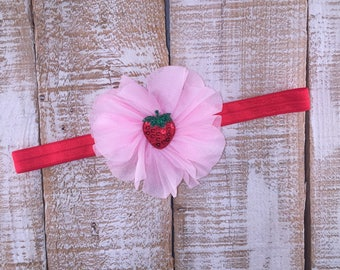 Strawberry Headband, Newborn Headband, Baby Girl Headband, Toddler Headband, Summer Headband, Photography Prop