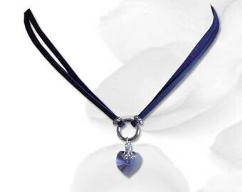 My Heart Submissive BDSM Collar BDSM Slave Collar Purple Heart Purple Leather Cord  Collar BDSM Jewelry