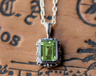 Peridot pendant necklace, sterling silver pendant, green stone necklace, gift for wife, august birthstone necklace, holiday gift for wife