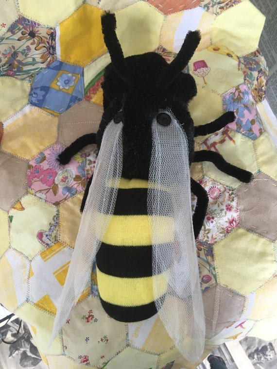 Bee faux fur and sock doll made by Catherine L Owen with mixed media