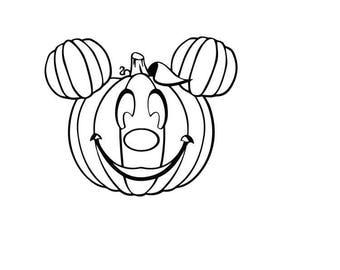 Mickey Pumpkin Head digi stamp