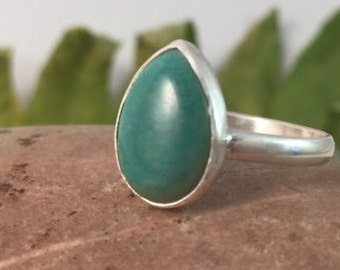 Turquoise Ring, Size 8, Sterling Silver, December Birthstone, Pear, Teardrop, Stacker, Boho, Gypsy