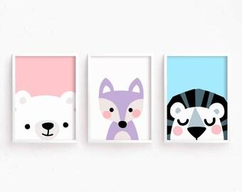 Sale 50% Off = Printable Nursery Art Set of 3 : Bear Fox Lion ( Face Art Baby room decor kids Poster Digital print Girls Room Cute Animals
