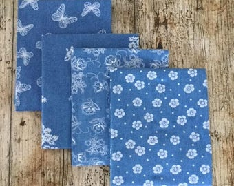 Blue Chambray Cotton Fat Quarter Bundle