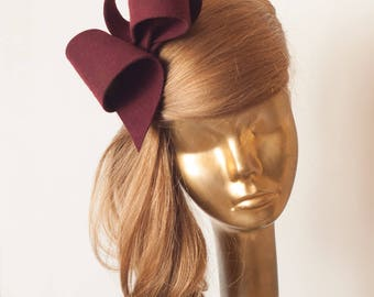 Unique Modern Burgundy FELT FASCINATOR. BRIDAL Fascinator . Burgundy Headpiece, Burgundy  Party Bow Fascinator for Women
