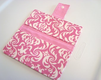 Fabric Checkbook Cover , Holder - Pink And White Damask
