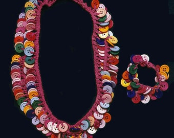 Pink Necklace and Bracelet Colorful Buttons - PATTERN / INSTRUCTIONS