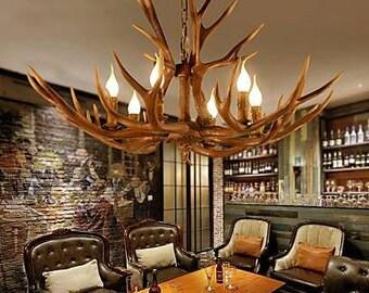 Leichte Holz Hirsch, Holz, Original Beleuchtung Kronleuchter