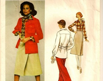 """A Calvin Klein Classic Back Belted Jacket, Front Wrap Skirt, Pants & Long Sleeve Shirt Pattern for Women: Size 10, Bust 32-1/2"""" • Vogue 1368"""