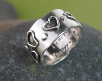 sterling silver personalized wide band with hearts & dots . (( I Carry Your Heart )) . stamped poetry on the inside . READY TO SHIP sz 8 1/2