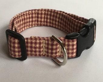 Adjustable Red and Tan Plaid Print Dog Collar