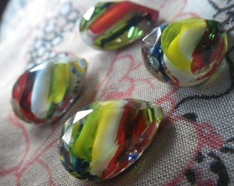 Red Yellow Blue Stripe Givre 18X13mm Pear Glass Gems Foiled 4 Pcs
