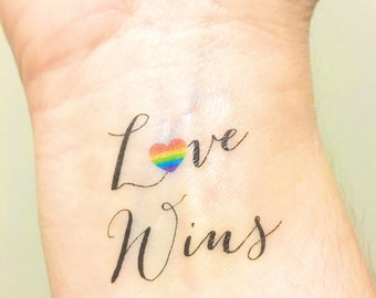 Temporary Tattoo - Love Wins - Love is Love - Gay Wedding Gift - Gay Marriage - LGBT - Gay Couples -  Lesbian Wedding - Gay Rights