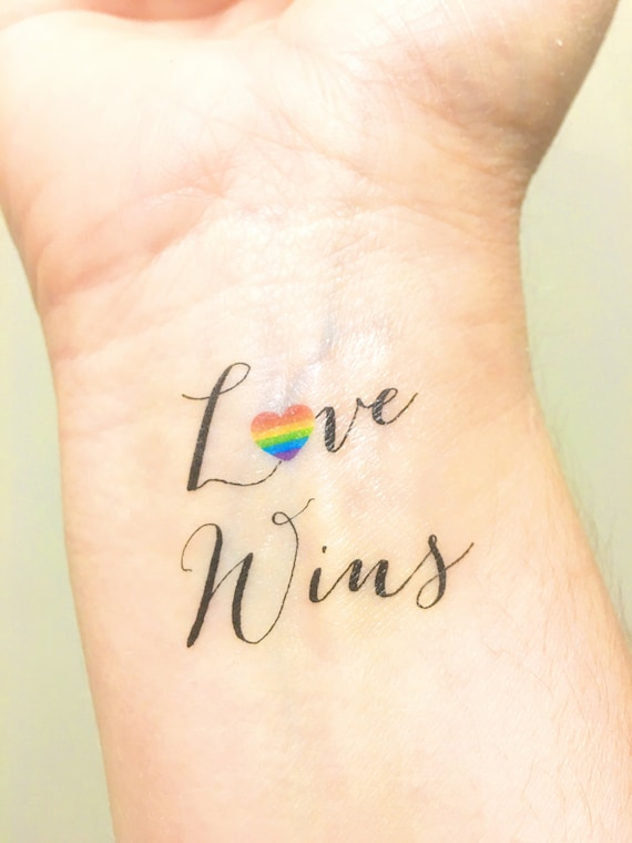 temporary tattoo love wins love is love gay wedding gift. Black Bedroom Furniture Sets. Home Design Ideas