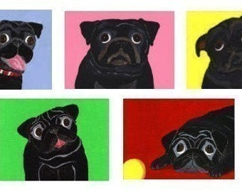Black Pug Note Cards - 5 Designs