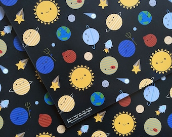 Solar System Wrapping Paper - 5 Sheets - Kawaii Planets in Space