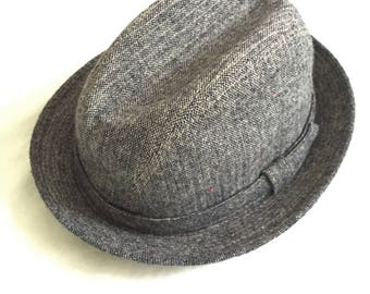Vintage 80s Stetson Gray Wool Tweed Fedora Hat Large