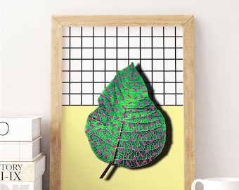 A leaf from Memphis, Printable art, digital collage, memphis style, pop, colorful, wall art, instant download, nursery art