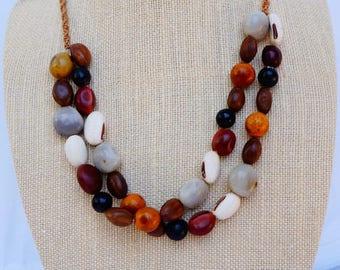 Natural Seed Necklace, Chunky Necklace, Multi Strands Necklace, Tribal Necklace,Natural  Brown Necklace, Ethnic Seed Necklace, Bean Necklace