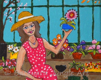 In the Greenhouse acrylic 6x6 canvas small painting original gardening flowers girl garden mini