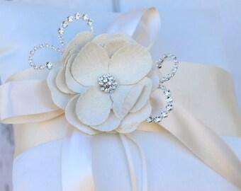 Blush Ring Bearer Pillow / Rhinestone and Blush Ring Pillow /  Blush Pink Wedding / Blush Pink Ring Bearer Pillow /  Blush Wedding Pillow