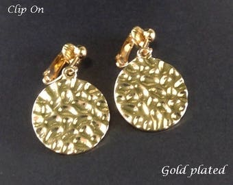 Clip On Earrings: Beautiful Gold Plated Hammered Finish Costume Clip-on Earrings | Fashion Earrings, Dangle Earrings, Clip Earrings 320