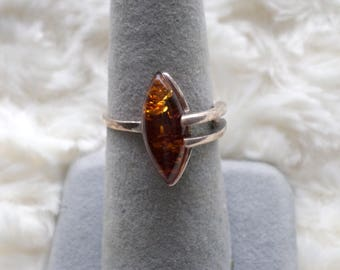 Cognac Baltic Amber and Sterling Silver Ring