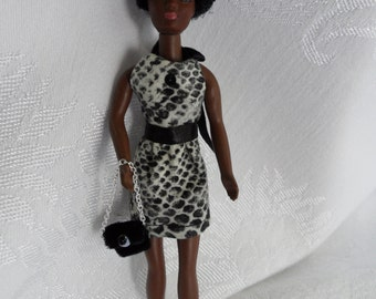 Handmade Dawn Doll Clothes 6.5 Inch Doll Dress Set Small Doll Clothes Halter Dress and Black Velvet Bag for Rock Flower Fashion Doll Clothes
