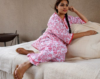 Handmade Red Flower Hand Block Printed Pyjama - 100% Cotton - Fits Small to Medium - Red and White