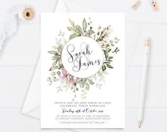 Wedding Invitation - Printable Wedding Invitation - Floral Invitation - Spring Wedding - DIY Wedding - Printable Invitation - PDF