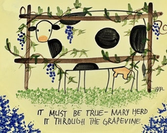 Millésime 1992 Molly Dallas peint à la main plaque ferme animaux plaque vache troupeau il bien la vigne bleu de Marie spongeware éclaboussure