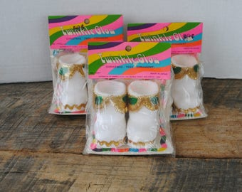 Vintage Twinkle Glow Boot Shaped Christmas Ornaments Set of 6