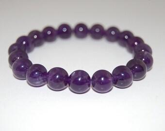 Purple Amethyst Bracelet,Gemstone 10mm Beads,Elastic Bracelet,Purple Gemstone Bracelet,Purple Crystal Bracelet,Man,Woman,Beaded Jewelry,Gift