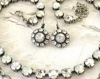 Crystal Clear and Moonlight Swarovski Flower Drop Earrings Embellished Leverback Style **LOOKING GLASS** Gorgeous and Wearable