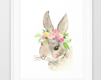 Bunny nursery - DIGITAL Printable - nursery print- bunny watercolor - flower crown animals - floral nursery art