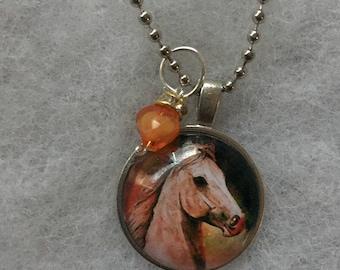 Handmade orange horse necklace with pendant