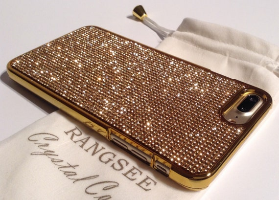 iPhone 8 plus case / iPhone 7 plus Case Case Gold Topaz Rhinestone Crystals on Gold Chrome Case. Velvet Pouch Included,
