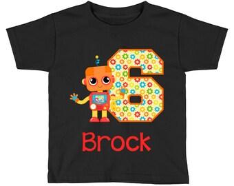 Robot Birthday Shirt - Orange Robot Birthday Shirt - 6th Birthday Shirt - Sixth Birthday Shirt 6 - Boys Birthday