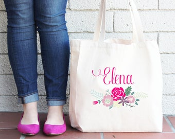 Personalized Floral Tote Bag // Bridesmaid Flower Personalized Tote Bag Custom Bridesmaid Canvas Bag // Wedding Gift Tote Bag