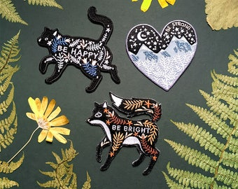 Gift Set of Two Embroidered Iron On / Sew On Patches // Cat, Fox & Mountains